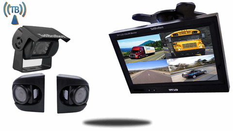 aftermarket backup camera for trailer 2 side cams, 1 rearview cam and split screen