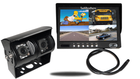 Dual lens backup camera with split screen