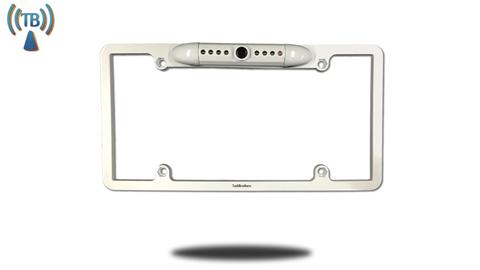White CCD license plate backup camera frame