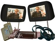Paired 9-Inch Headrests with a 1 Din Car DVD Player (Black)