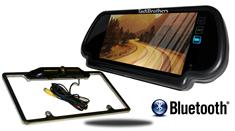 7-Inch Mirror with Bluetooth and CCD Black License Plate Frame Backup Camera