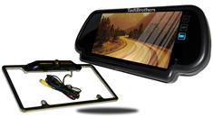 7-Inch Mirror with CCD Black License Plate Frame Backup Camera
