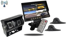 Wireless RV Backup System with a Dual Rear Camera 2 side cameras and Monitor