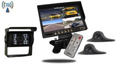 Wireless Rear-View System for RVs with 3 Cameras and Split Screen Monitor