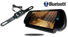 7-Inch Mirror with Bluetooth and License Plate Backup Camera