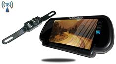 Wireless License Plate Backup Camera with Rear View Mirror Monitor