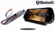 5-Inch Mirror with Bluetooth & Steel CCD License Plate Backup Camera