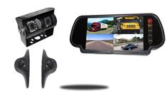 RV Backup Camera System with Duel Rear Camera 2 side cameras and Mirror