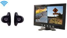2 Wireless Side View Backup Cameras with a split screen monitor for trailers