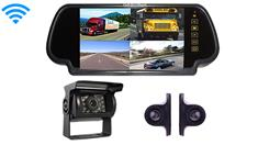 Wireless Rear View System with 3 Backup Cameras and Clip on Mirror
