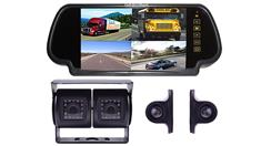 RV Backup Camera System with Dual Rear Camera 2 side cameras and Mirror