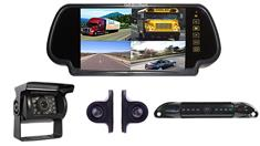4 Camera Rear View System including a License Plate Camera and Mirror