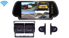 Wireless RV Backup Camera System with Dual Rear Camera 2 side cameras and Mirror