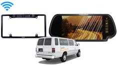 Econoline Van Backup Camera System (7-Inch Mirror with Wireless CCD Steel License Plate Frame)