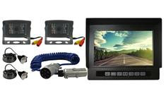 Heavy Duty Rearview Monitor and 2 Backup Cameras featuring Industrial Grade Quick Disconnect for Hitching