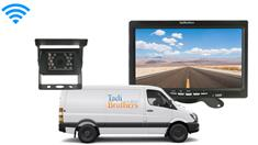 Sprinter Van Backup Camera System featuring a Roof Mounted Rear view Camera and Monitor