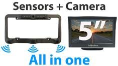 License Plate Camera Bar with Built-in Heavy Duty Parking Backup Sensor and a Monitor