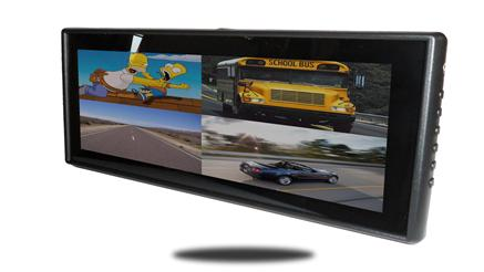 Frontal view of 9 inch Split screen mirror monitor