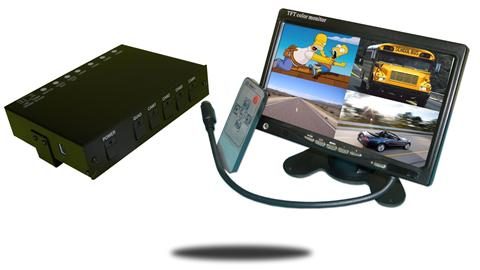 Mobile dvr can record up to four cameras with 7 inch color monitor