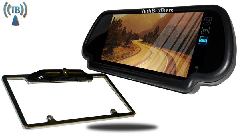 7 Inch Mirror With Wireless Steel License Plate Frame