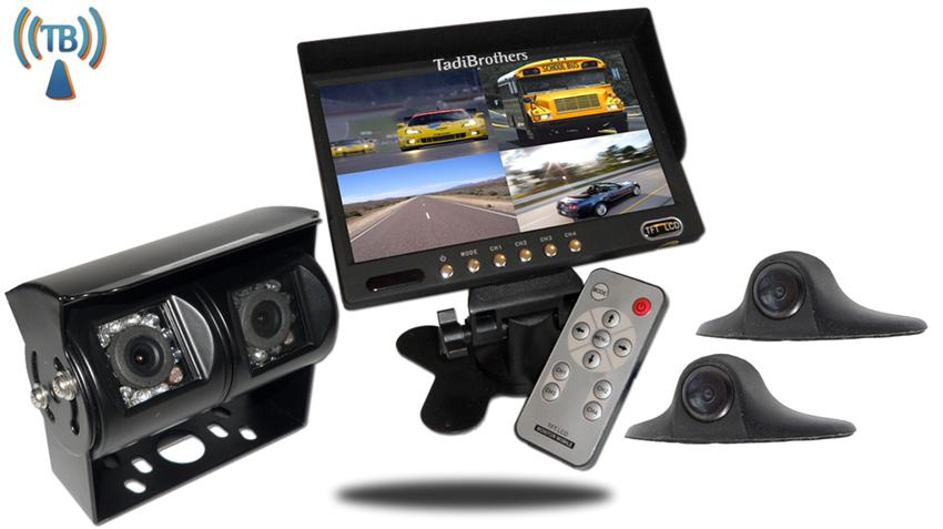 9 inch Wireless Trailer, RV Backup Camera System|Double lens CCD RV Camera| 2 Side cameras