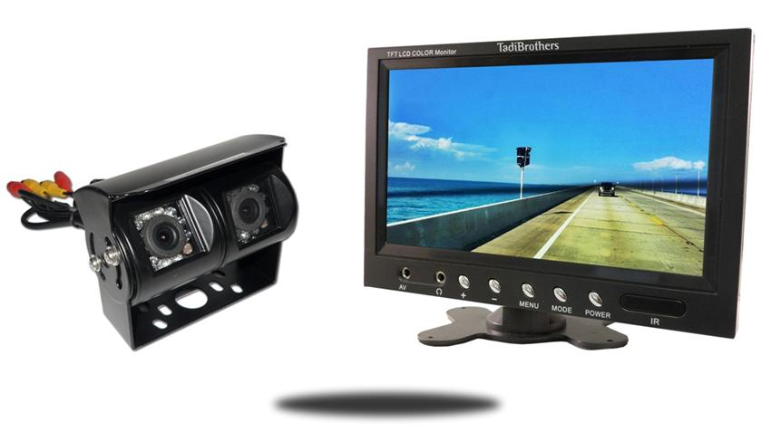 Double mounted rv backup camera with 10.5
