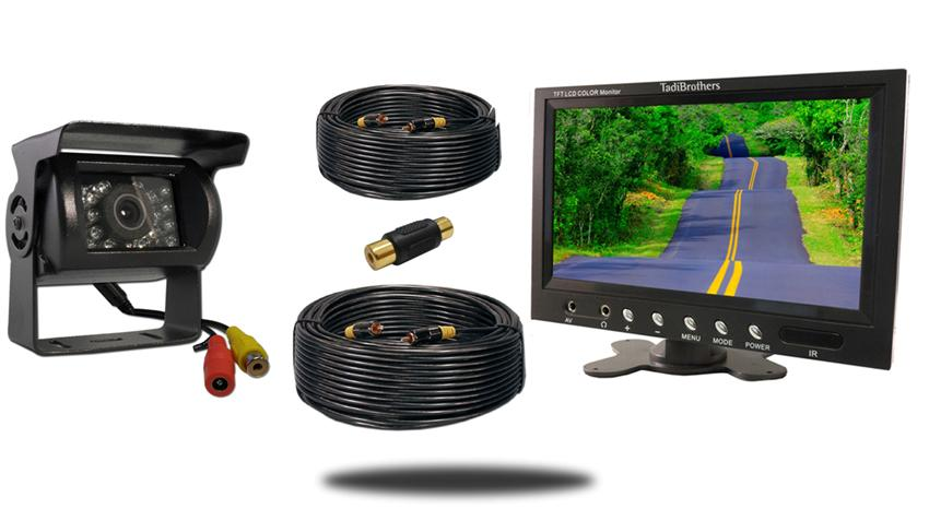 Wired fifth wheel system with 9 inch monitor and 120 degree mounted rv camera