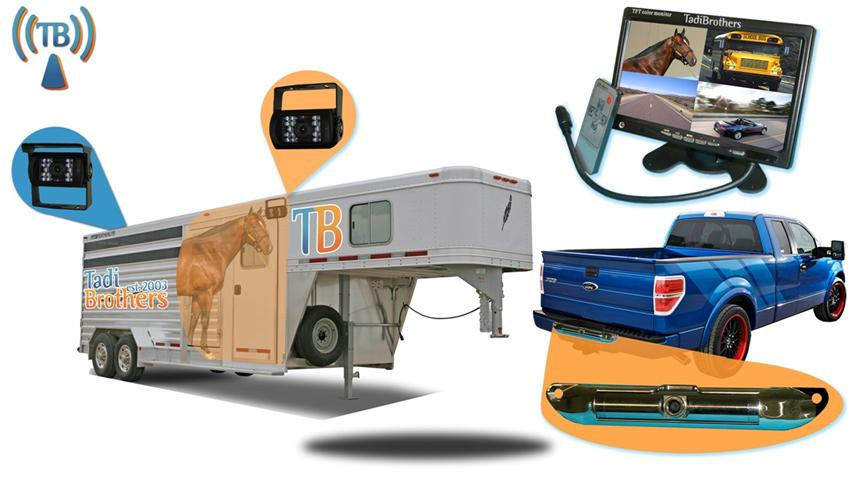 9 Inch Horse Trailer 3 Camera Wireless System with Two 120° Birds Eye View and 1 Rear Truck Camera