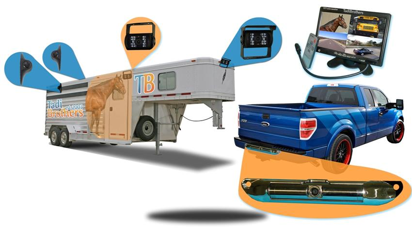 10.5 inch lcd split screen horse trailer monitor with two wired rv backup cameras two wired side cameras and one ccd license plate camera