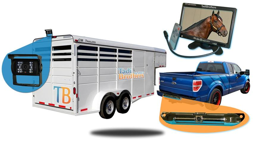 Wired 12 inch horse trailer system with roof mounted rv backup camera and ccd steel license plate camera