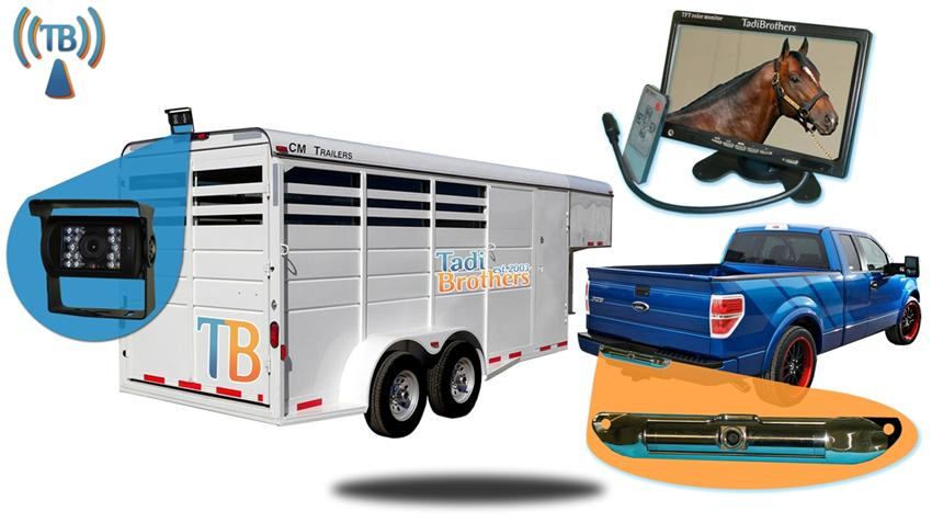 Wireless Horse Trailer Pickup Truck Rear View System with 2 cameras SKU-82483