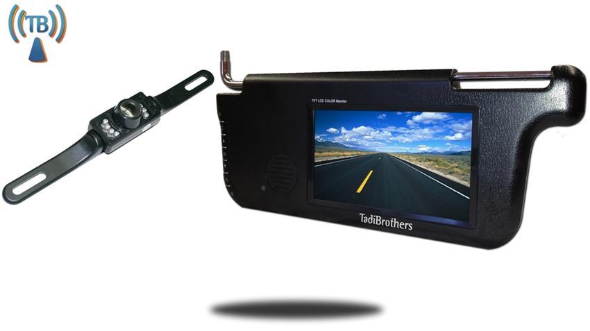 Wireless License Plate Backup Camera with Visor Monitor | SKU-70375