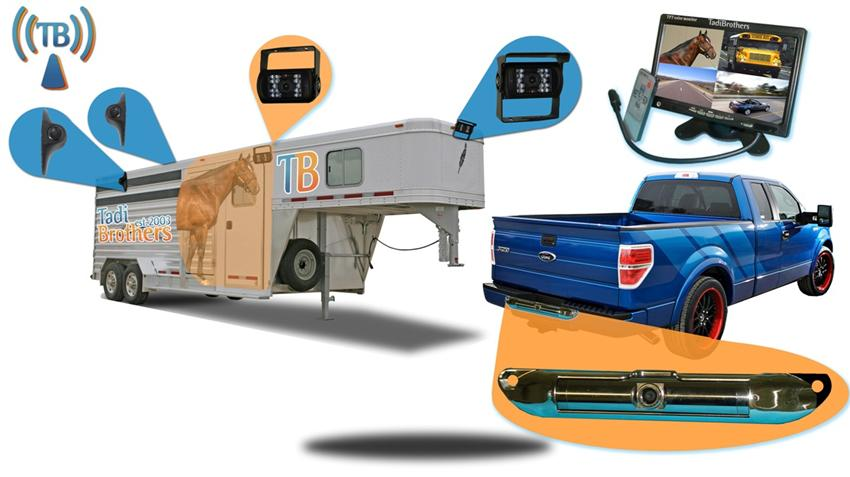 Horse Trailer Backup System With 5 Wireless Cameras And A
