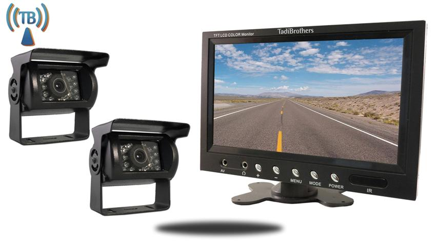 7 Inch Monitor with 2 Wireless Mounted RV Backup Cameras Great for RV's, Trailer's and Campers!