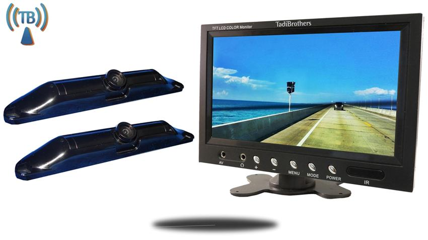 10.5 Inch Monitor with 2 Wireless CCD Steel License Plate Backup Cameras Great for Trailers, RV's, and Trucks Hooking up a trailer to their hitch!