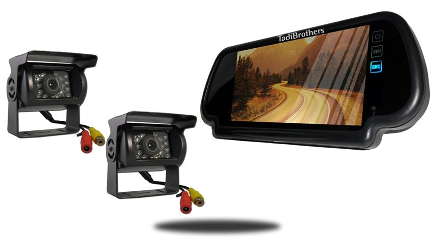 two wired rv backup cameras with 7