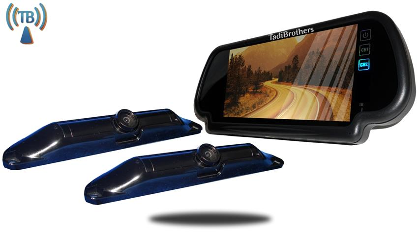 7 Inch Mirror with two Wireless CCD Steel License Plate Backup Cameras, Great for Trucks, RV's, and Campers!