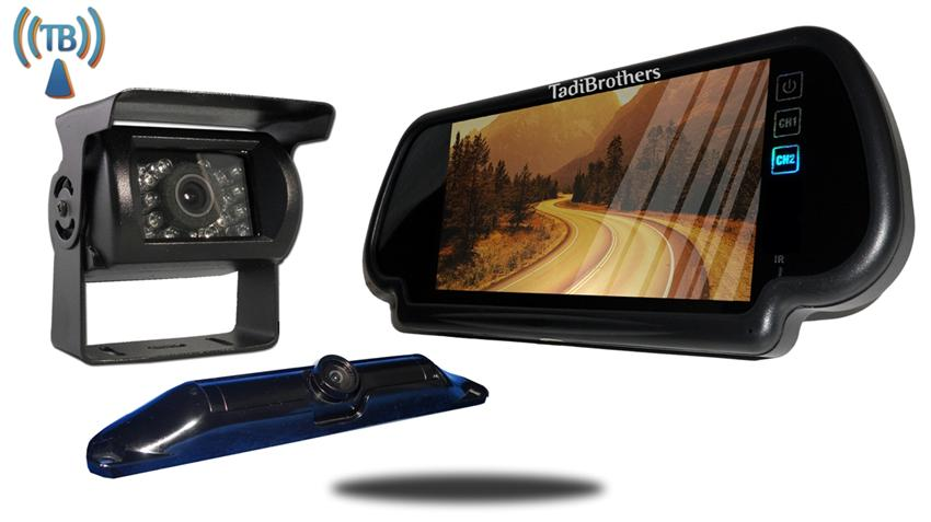 5th Wheel Wireless Backup Camera System with a 7 Inch Mirror and 2 Backup Cameras