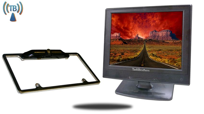 12 Inch Monitor with Wireless CCD Black License Plate Frame Backup Camera