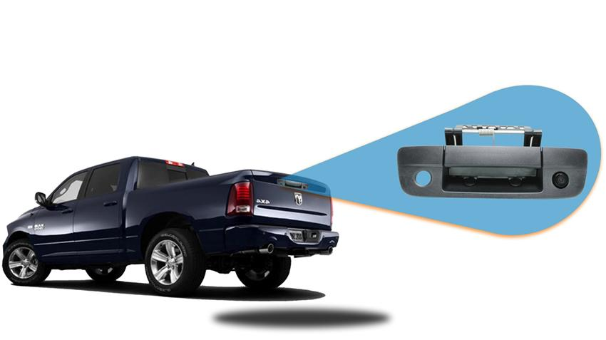 Backup camera built in to the tailgate handle for Dodge Ram. For specific model years please call our support line.