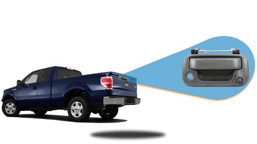 Backup camera built in to the tailgate handle for Ford F-150. For specific model years please call our support line.
