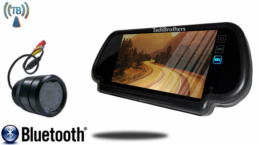 7 Inch Mirror with Bluetooth and Wireless 170 Degree Bumper Backup Camera Great for Sedans