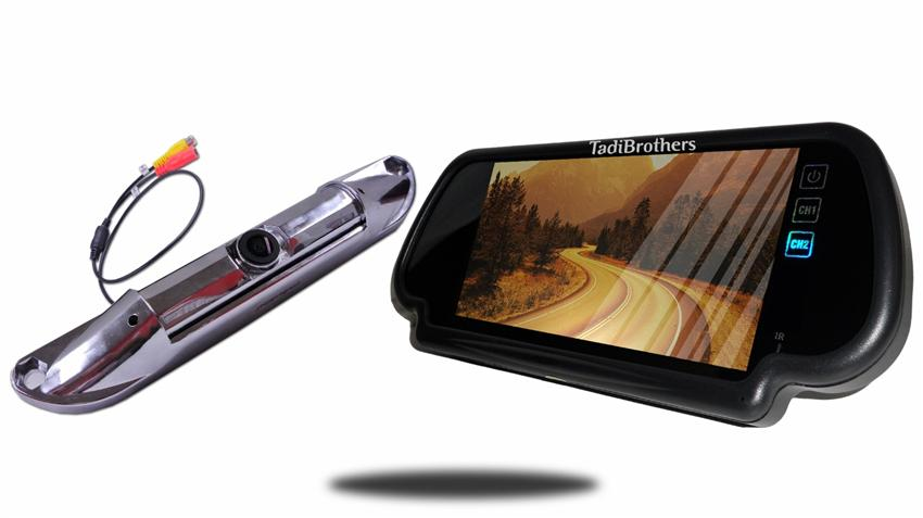 Silver CCD Steel License Plate Backup Camera with 7-Inch Mirror Monitor