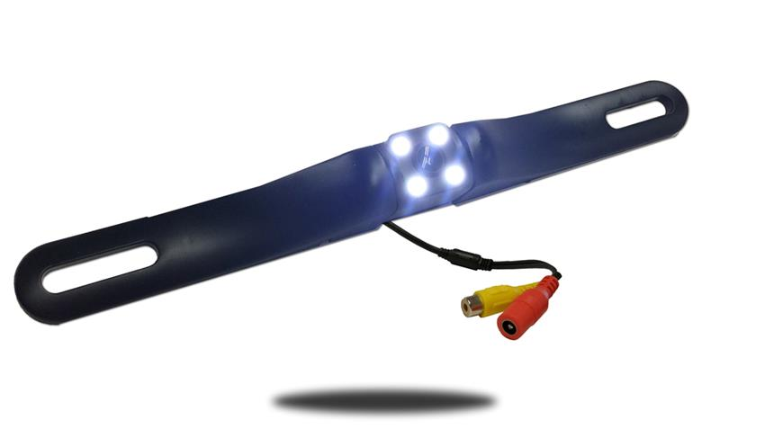 The hi-res CCD reverse light license plate backup camera illuminates the area behind you with 4 bright LEDs around the camera lens.