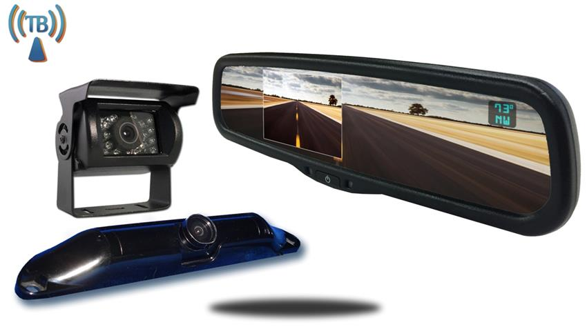 5th Wheel Wireless Backup Camera System with a 4.3 Inch Mirror and 2 Backup Cameras