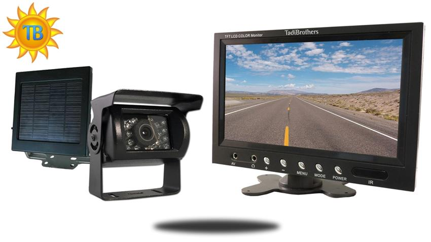 Solar Powered Wireless Backup Camera kit with Rear View Monitor for RV