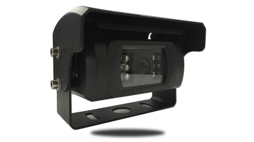 The 120 degree automatic shutter backup camera features a motorized shutter that opens and closes when the monitor is powered on/off.
