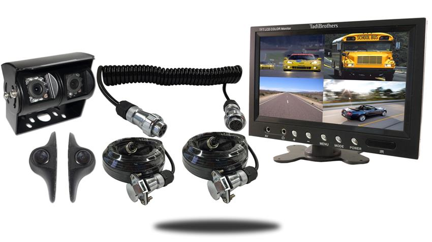 Trailer Rear View System 4 Backup Cameras Quick Disconnect  split screen monitor SKU127643