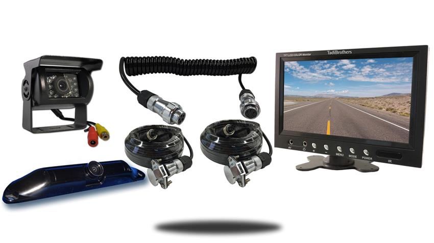 Wired two camera Quick Disconnect fifth wheel system one rv backup camera one ccd license plate camera and 7 inch color monitor