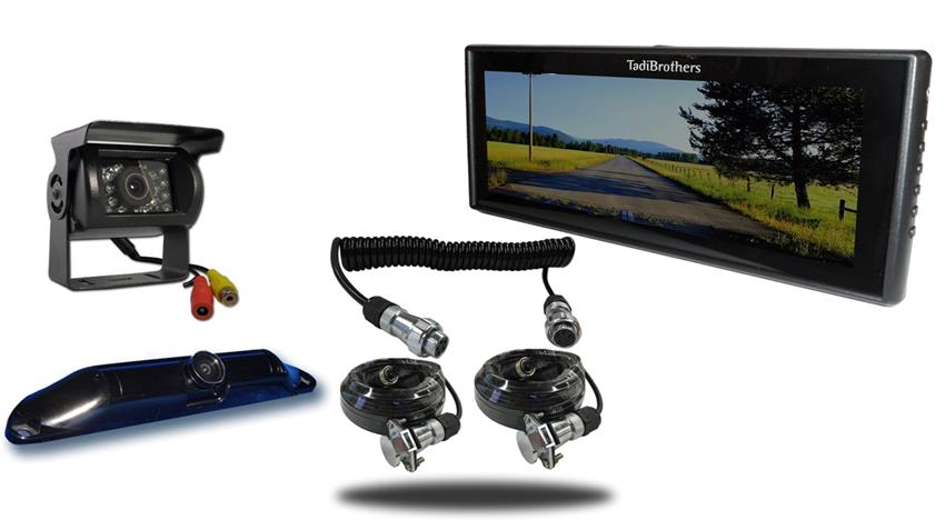 Wired two camera Quick Disconnect fifth wheel system one rv backup camera one ccd license plate camera and 9 inch color monitor